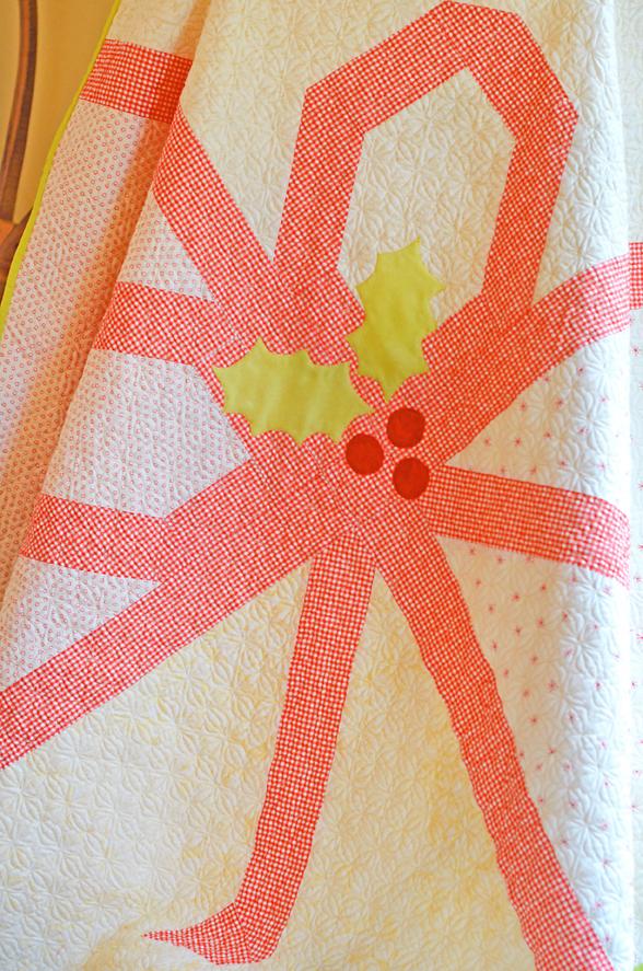 Christmas gift quilt closeup
